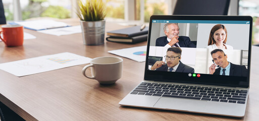 Video call business people meeting on virtual workplace or remote office. Telework conference call...