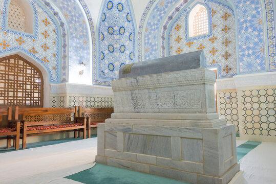 Sheikh Shamsiddin Kulol Mausoleum at Dorut Tilavat Complex in Shakhrisabz, Uzbekistan. It is part of the Historic Centre of Shakhrisyabz World Heritage Site.