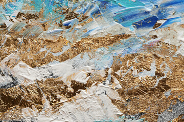 Abstract acrylic smear blot painting. Blue and gold Color horizontal texture background.