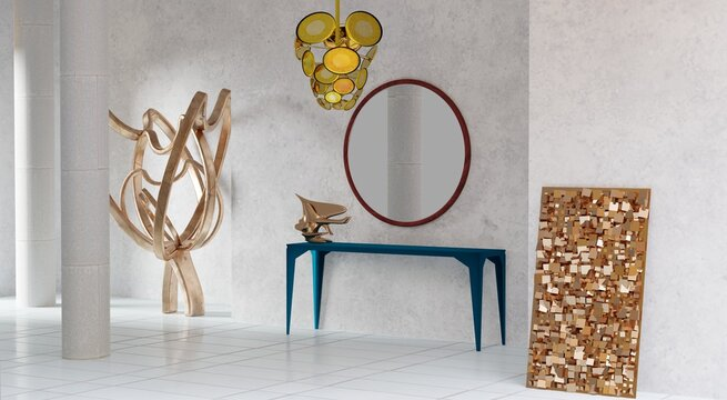Foyer with konsole table, mirror and art objects