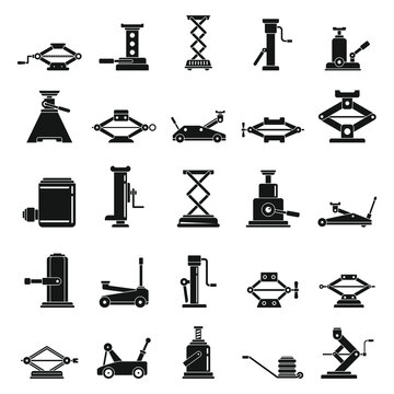 Car jack-screw icons set. Simple set of car jack-screw vector icons for web design on white background