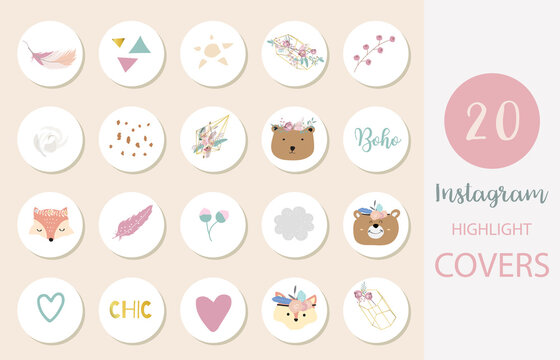 Icon of instagram highlight cover with flower, feather, leaf for social media
