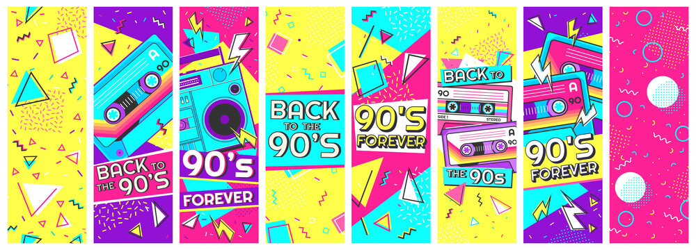 Retro 90s banner. Nineties forever, back to the 90s and pop memphis background banners vector illustration set. Trendy fashion nineties, decoration party 90s