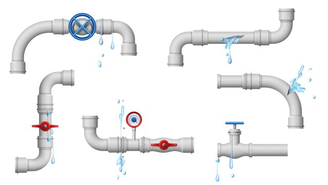 Damaged leaky pipes. Water pipe leaks, broken metal plumbing and leak from pipes and joints vector illustration. Leaking pipe crack, piping problem supply damage tube