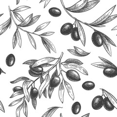 Wall Mural - Seamless black olive pattern. Greek olives on branches with leaves, hand drawn sketch vector illustration. Greek olive twig, floral decoration fresh
