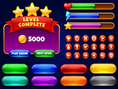 Game UI. Level complete menu with golden stars and buttons. Health bar, arrows and play button for mobile games interface vector illustration set. Ui menu, interface game level, loading level progress