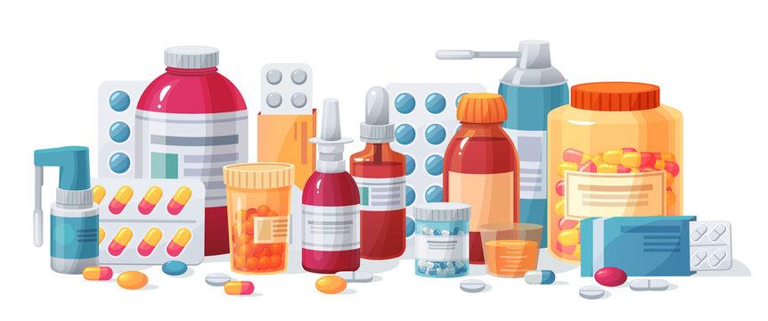 Cartoon meds. Drugs, tablet capsules and prescription bottles. Blisters painkiller drug vector pharmacy medication. Pharmaceutical treatment, medical pill, medication tablet, dose package illustration