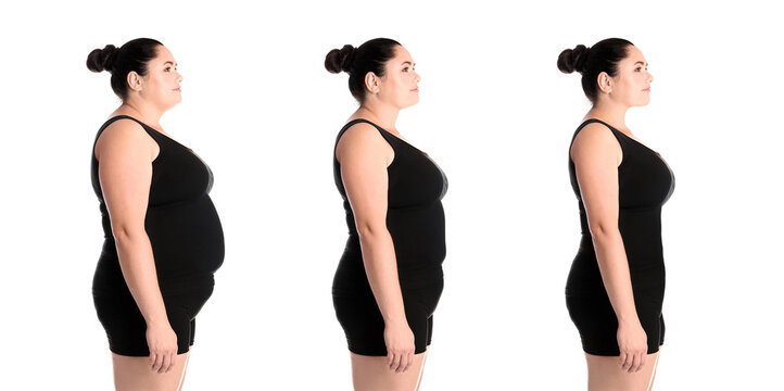 Collage with photos of overweight woman before and after weight loss on white background. Banner design