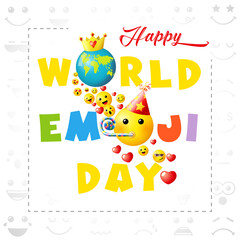 Happy world emoji day creative square congrats. Isolated abstract graphic design template. Smile icons and bright text. Vector sign. Cute funny colorful symbol in cartoon style. White background.
