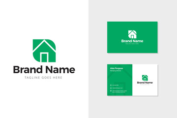 Green house logo and business card mock-up