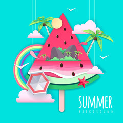 Poster Vert corail Slice of watermelon with sea or osean island landscape inside. Summer beach background. Cut out paper art style design. Origami