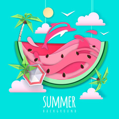 Poster Vert corail Slice of watermelon with sea or osean landscape and dolphin inside. Summer beach background. Cut out paper art style design. Origami