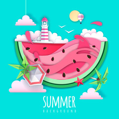 Poster Vert corail Slice of watermelon with sea or osean landscape inside and lighthouse. Summer beach background. Cut out paper art style design. Origami