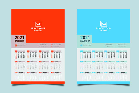 One Page Wall Calendar Design 2021.Wall Calendar Design 2021, Set Wall Calendar template design with Place for Photo and Company Logo. Week Starts on Saturday.2021 new year calendar in minimal