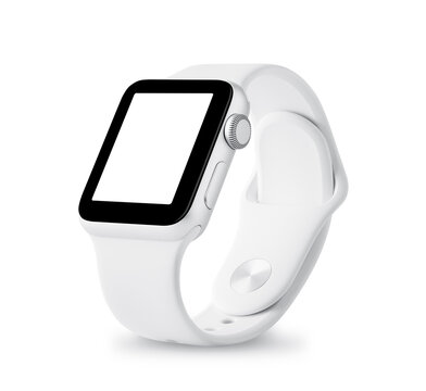 Apple Watch Sport 38mm silver aluminum case with white sport band with activity. Isolated on white background.