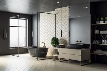 Foto op Plexiglas Londen Modern wooden bathroom interior