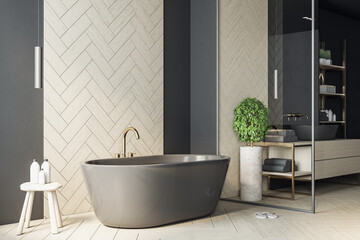 Keuken foto achterwand Londen Luxury marble bathroom interior with black bath