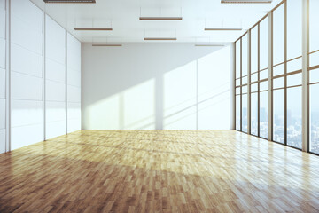 Modern gallery with city view and empty wall and wooden floor.