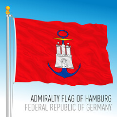 Admiralty flag of Hamburg, Germany, vector illustration