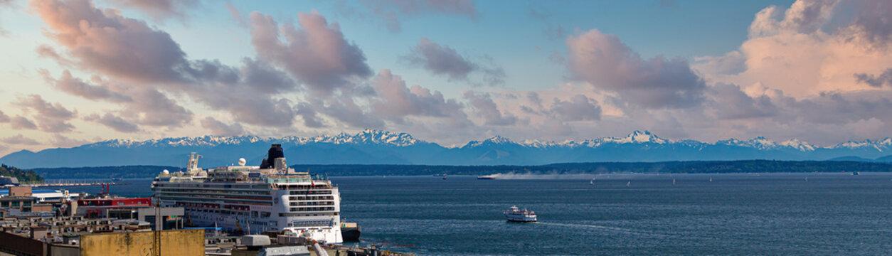 Cruise Ship in Seattle with Bainbridge Island in Distance