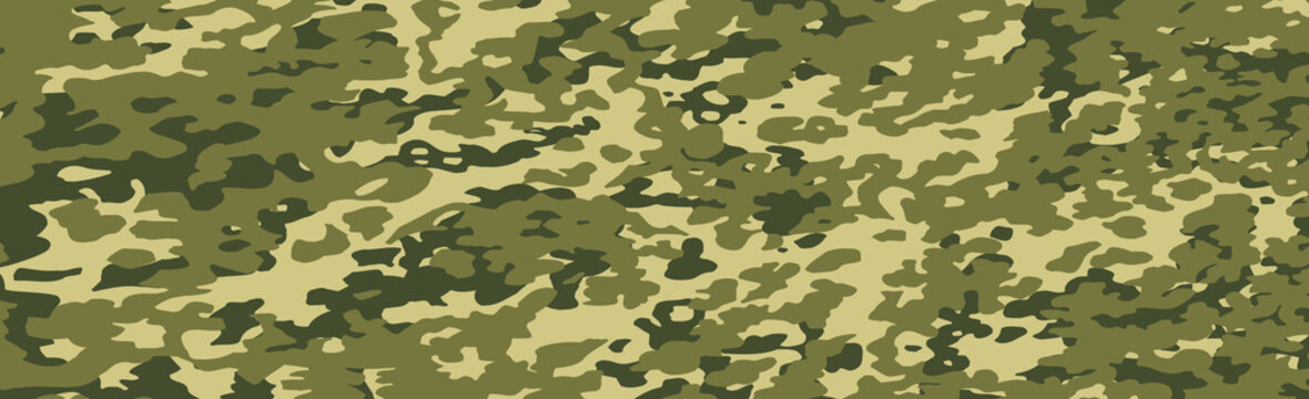 Military or hunting panoramic khaki geometric seamless pattern - Vector
