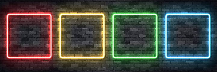Vector set of realistic isolated neon sign of colorful square frame for template and layout on the wall background.