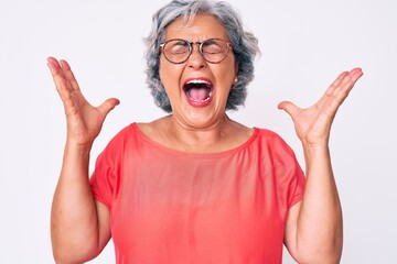 Senior hispanic grey- haired woman wearing casual clothes and glasses celebrating mad and crazy for success with arms raised and closed eyes screaming excited. winner concept