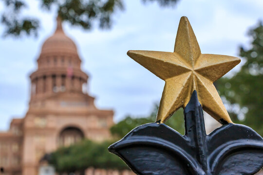 Star shaped ornament in front of the Texas State Capitol Building in Austin, TX