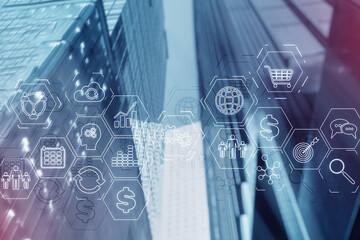 ERP (Enterprise Resource Planning). Business intelligence control panel marketing on modern city of...