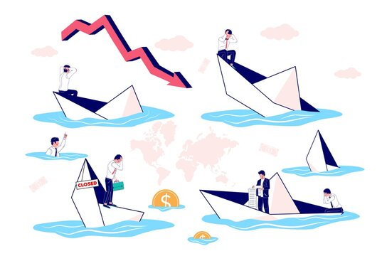 Businessman in leaking sinking paper boat cartoon character set, vector flat isolated illustration. Business bankruptcy, financial crisis, business failure, economic collapse.