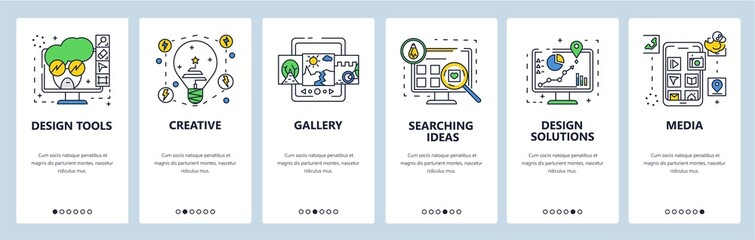 Fototapeta Design solutions, tools, ideas. Mobile app onboarding screens, vector website banner template