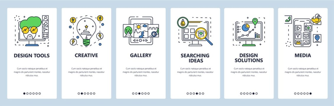 Design solutions, tools, ideas. Mobile app onboarding screens, vector website banner template