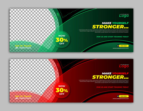 Gym Fitness Workout Boxing Exercise Banner Template