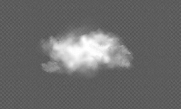 Realistic transparent cloud. Texture of clouds for template decoration, web and print, realistic texture for storm and sky. Vector Illustrations.