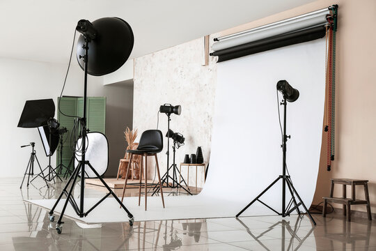 Interior of photo studio with modern equipment