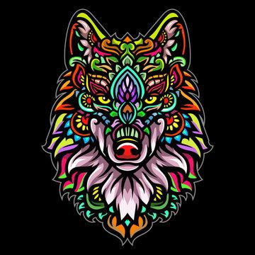 The zentangle arts of wolf head