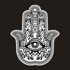 Illustration of a hamsa hand symbol. Hand of Fatima religious. Decorative pattern.