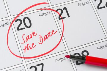 Save the Date written on a calendar - August 20