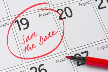 Save the Date written on a calendar - August 19