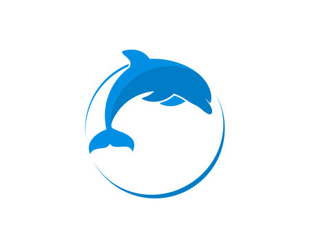 Circle shape with jumping dolphin