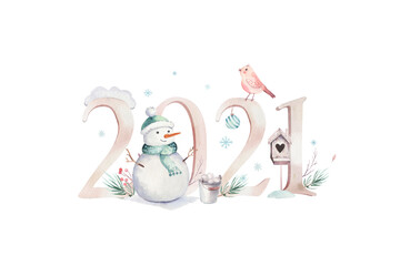 Wall Mural - Watercolor Merry Christmas illustration with snowman, 2021 holiday cute animals deer, rabbit. Christmas celebration cards. Winter new year design.