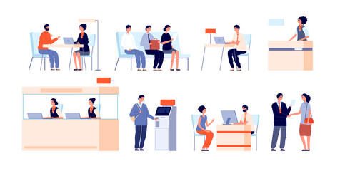 Bank clients service. Banking office, counter and client service. Cash desk, cashier atm professional loan consultant vector illustration. Office finance bank service, counter financial