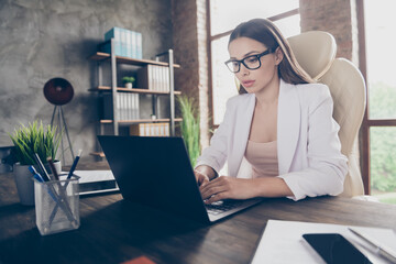 Profile photo of pretty amazing beauty business lady browsing notebook table concentrated work website freelancer remote work home office quarantine time social distancing indoors