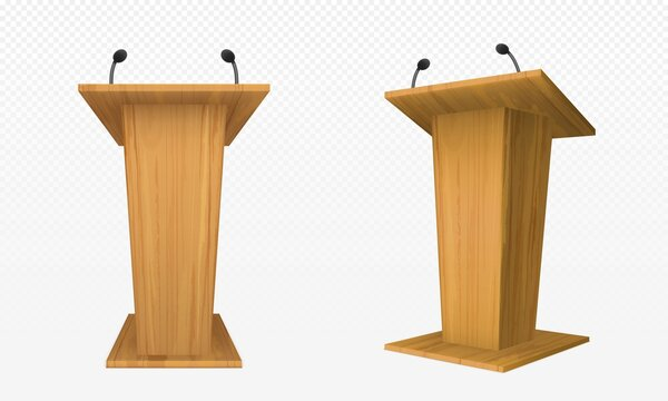 Wooden pulpit, podium or tribune front side view. Rostrum stand with microphone for conference debates, trophy isolated on transparent. Business presentation speech pedestal Realistic vector mock up