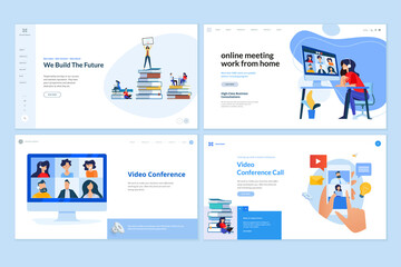 Web page design templates of work from home, video calling, education, conference meeting. Vector illustration concepts for website development.