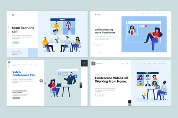 Web page design templates of video call, online meeting, work from home, teamwork. Vector illustration concepts for website development.
