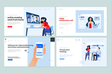 Web page design templates of video calling app, online communication, video conferencing . Vector illustration concepts for website development.