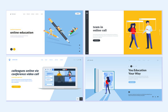 Web page design templates of video call and meeting, education, online communication. Vector illustration concepts for website development.