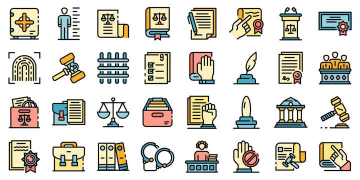 Legislation icons set. Outline set of legislation vector icons thin line color flat on white