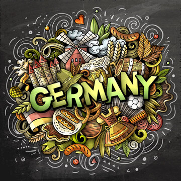 Germany hand drawn cartoon doodles illustration. Funny travel design.